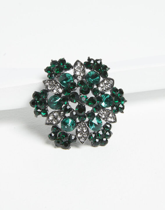 Broche florale argentée et émeraude Xane PhotoZ | 1-2-3