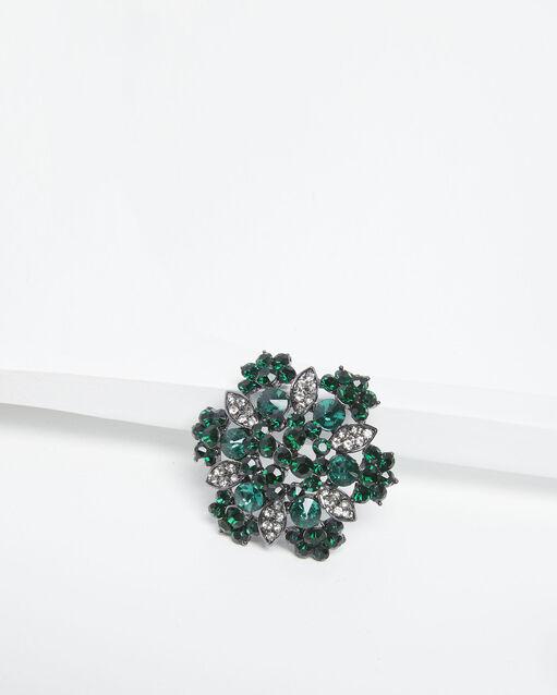 Broche florale argentée et émeraude Xane (2) - 1-2-3