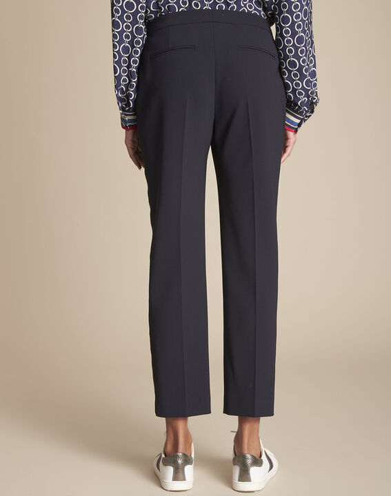 Suzanne tailored navy trousers with lateral band (4) - 1-2-3
