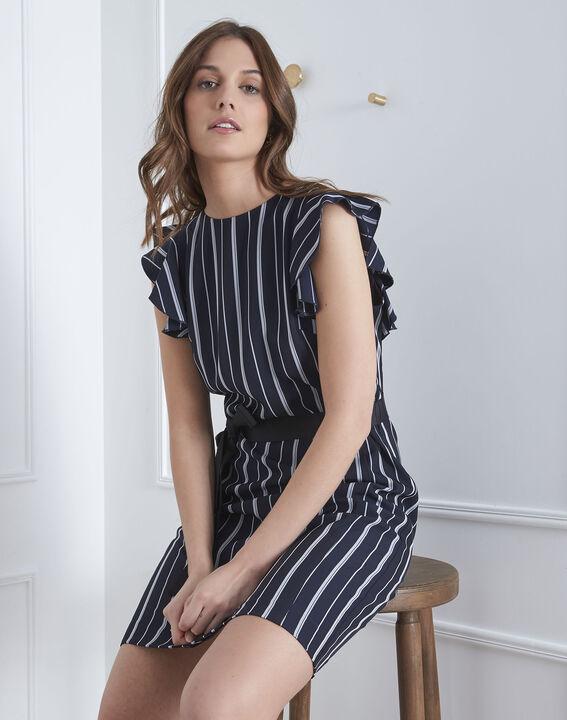 Marineblaues Kleid Streifen Rüschen Laure (2) - Maison 123