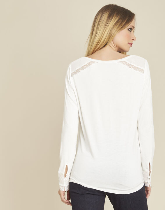 Girl ecru long-sleeved T-shirt with lace detailing (4) - 1-2-3