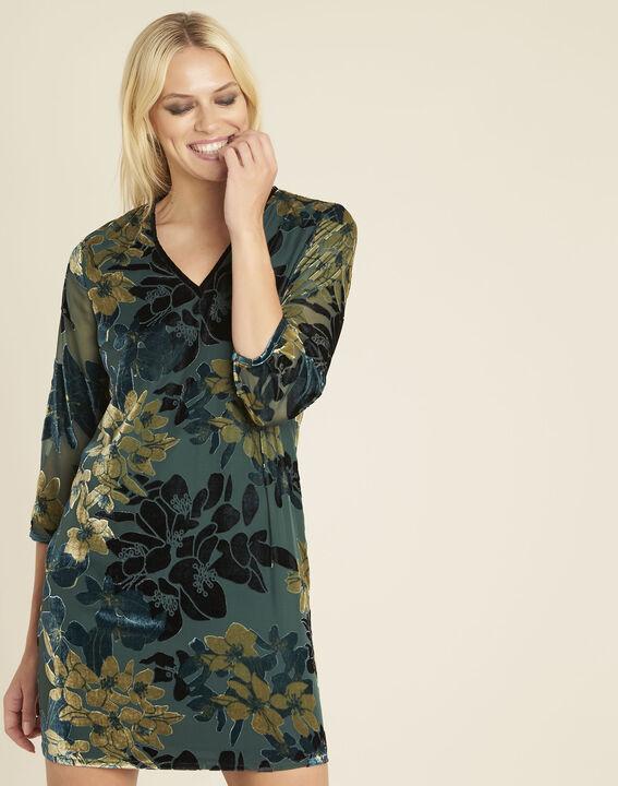 Smaragdgrünes Kleid mit Ausbrennmuster und Blumenprint Noémie (1) - 1-2-3