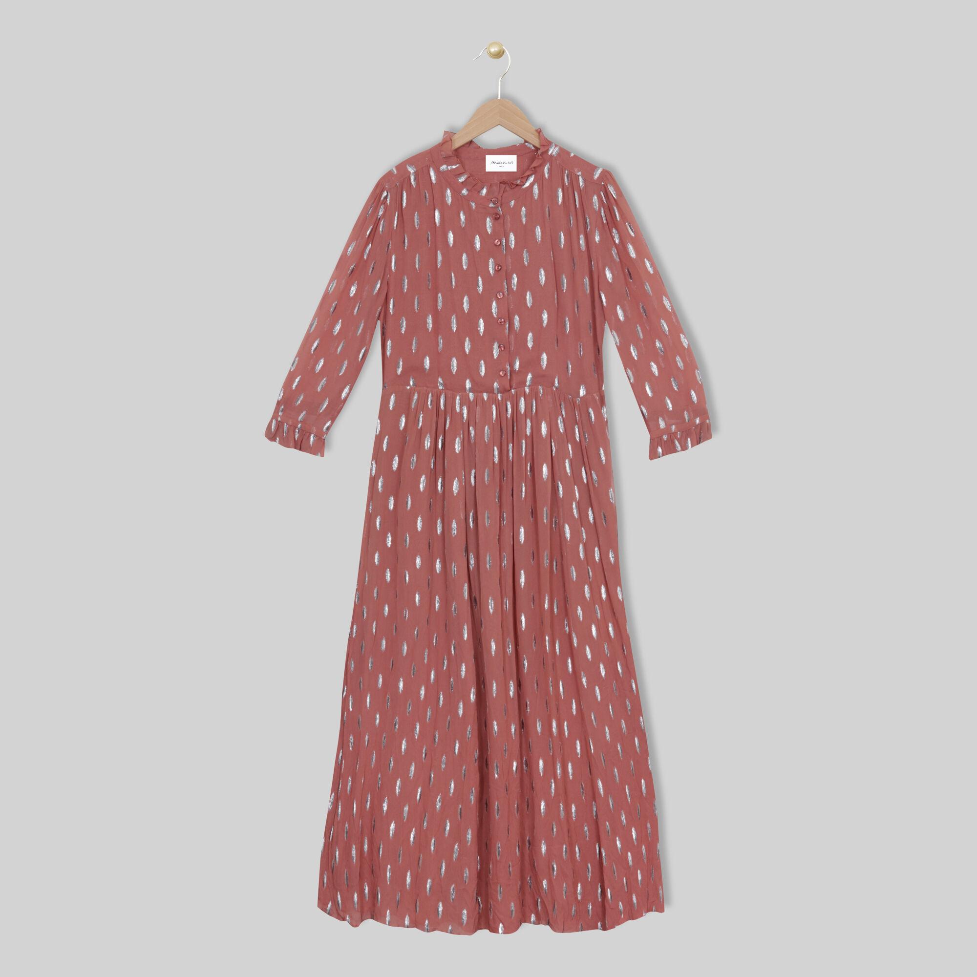 Robe longue imprimée lurex Océanie