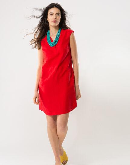 Bellini red linen dress (2) - 1-2-3