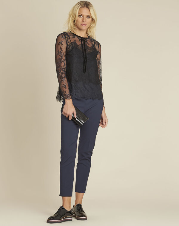 Donkerblauwe blouse met fluwelen strik Charlotte (2) - 37653