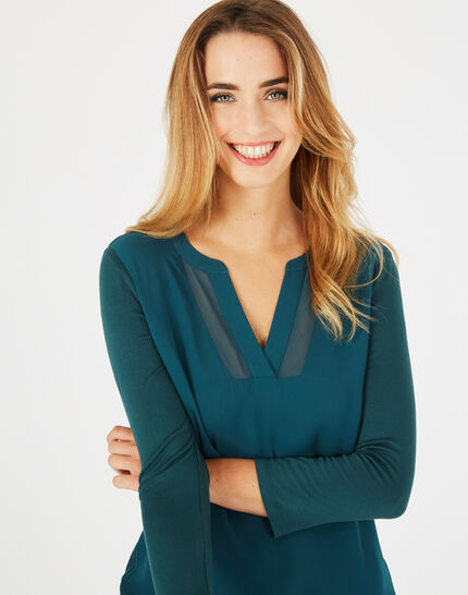 <br />Bianca forest green T-shirt with 3/4 length sleeves (3) - 1-2-3