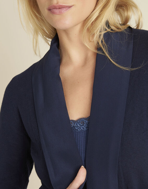 Brouillard navy blue cardigan in cotton and cashmere with cowl neckline (3) - 1-2-3
