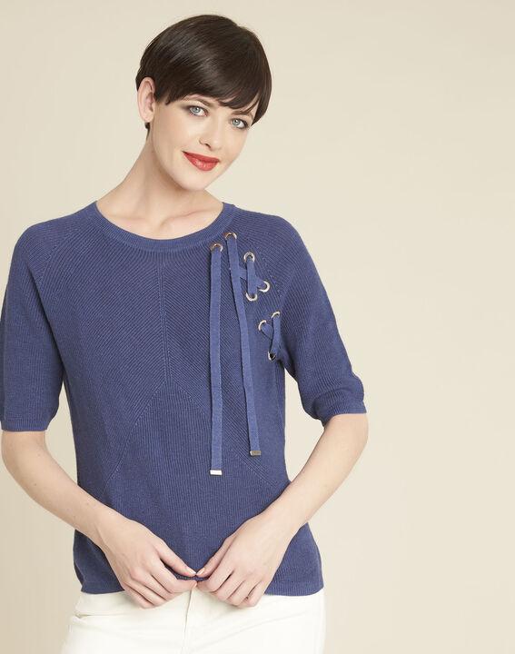 Blauwe trui met rijgwerk en vetergaten Boreale PhotoZ | 1-2-3