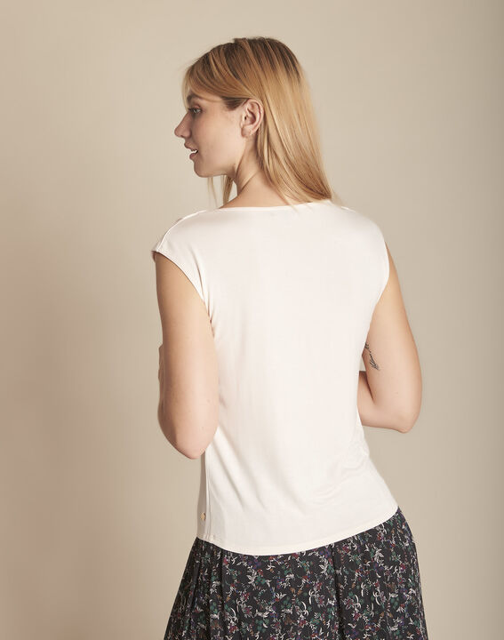 Pale rose bimaterial blouse with  Neptune V-neck (3) - Maison 123