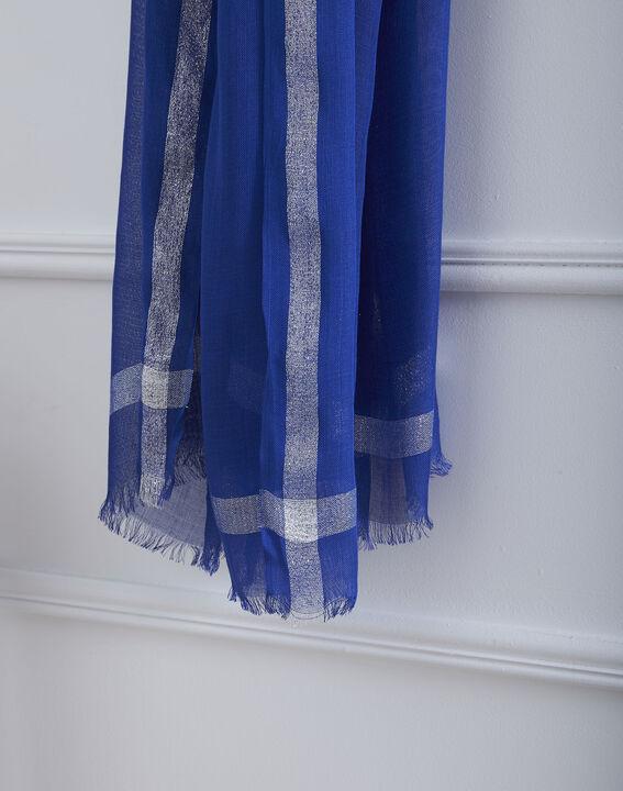 Foulard bleu en viscose détail lurex Orelia (2) - Maison 123