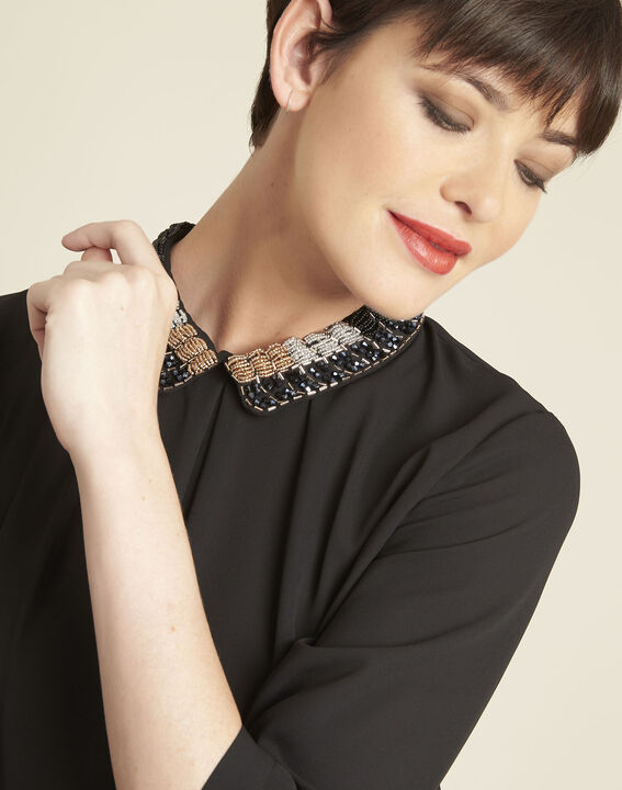 Chelone black blouse with embroidered Peter Pan collar (3) - 1-2-3