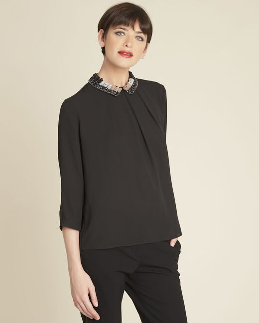 Blouse noire col claudine brodée Chelone (2) - 1-2-3