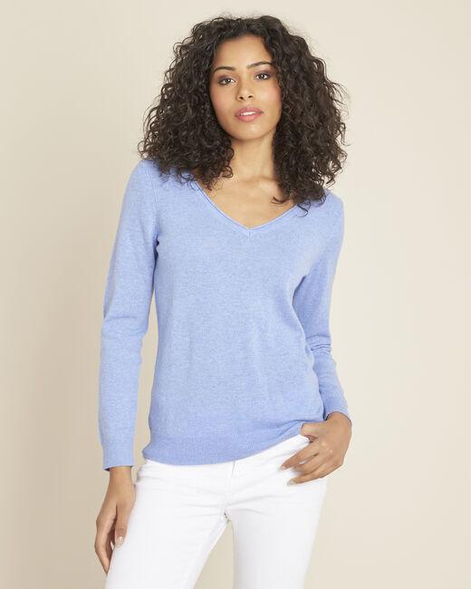 Blauwe trui van kasjmier met V-hals Pivoine (2) - 37653