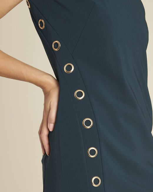 Dora straight-cut dark green dress with eyelets (2) - 1-2-3