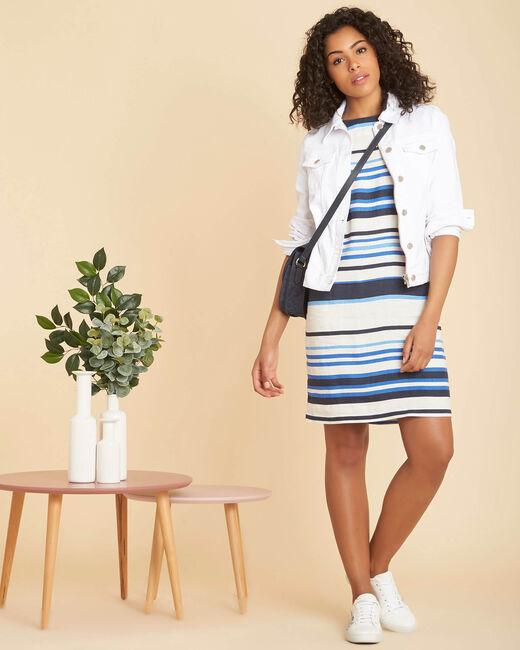 Berangere striped blue linen dress (1) - 1-2-3