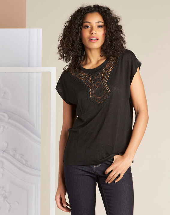 Elise black linen T-Shirt with lace detailing (3) - 1-2-3