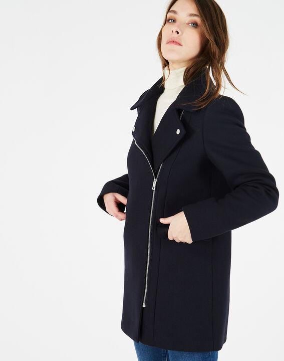 Manteau bleu marine en laine mélangée Oryanne (2) - 1-2-3