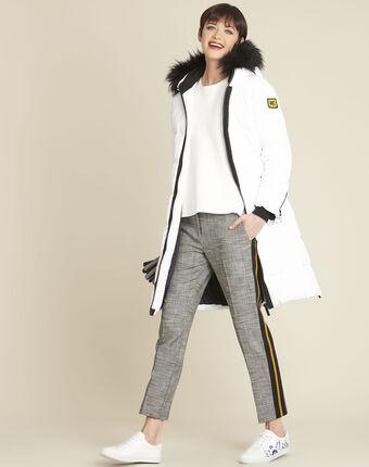 Pantalon gris cigarette jacquard bande côté hansel chine moyen.