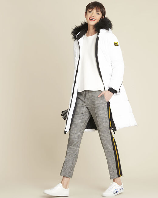 Hansel grey jacquard cigarette trousers with side stripes (1) - 1-2-3