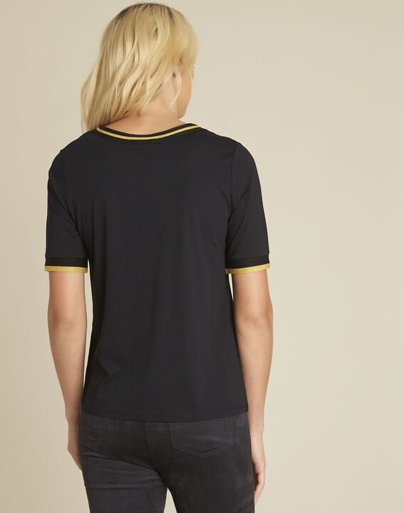 Clover black bi-material polka dot blouse (4) - 1-2-3