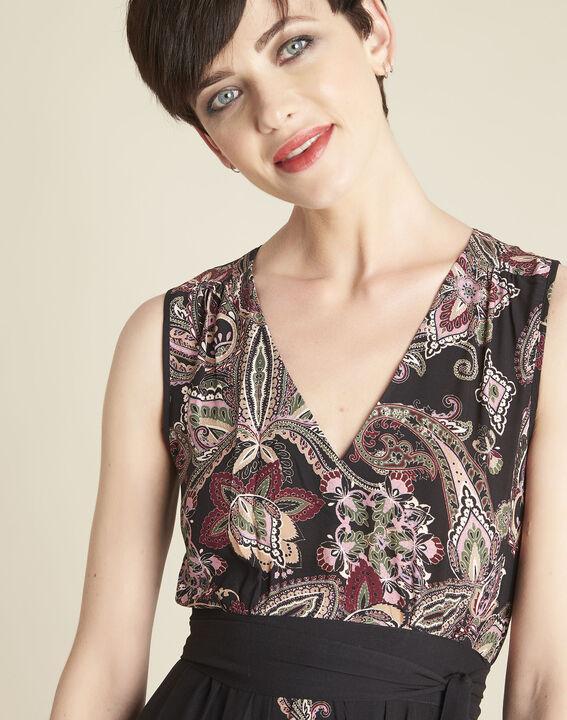 Langes Kleid mit Kaschmirprint und Gürtel Dael (2) - Maison 123