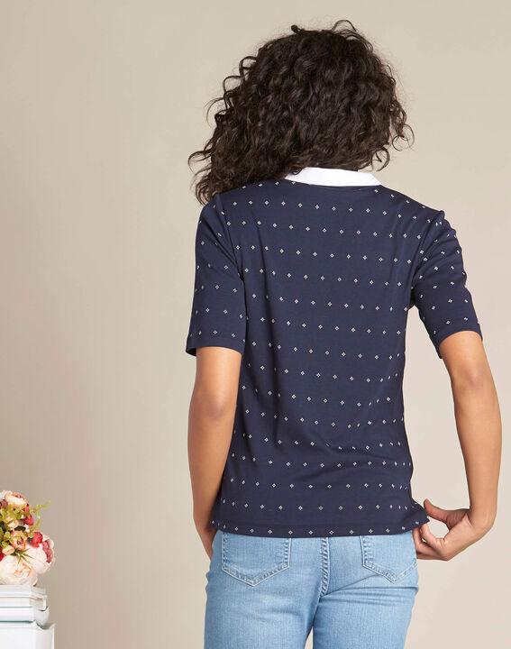 Marineblaues Print-T-Shirt mit Hemdkragen Bowling (4) - 1-2-3