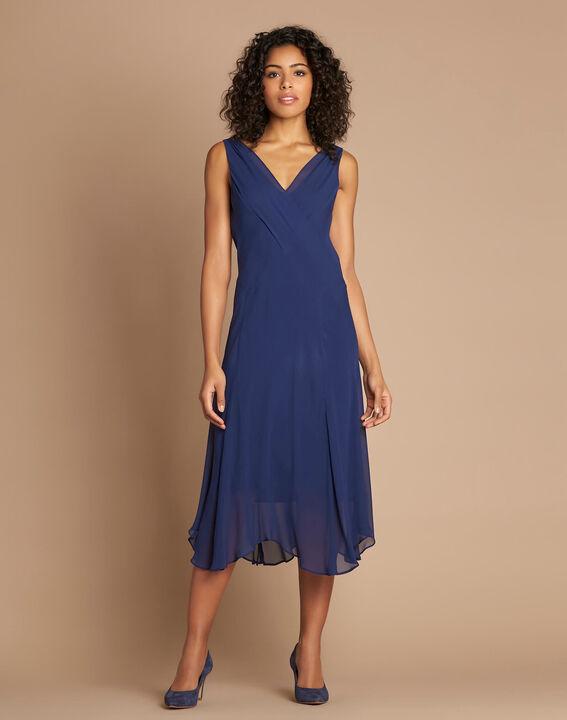 Robe indigo mi-longue dansante en soie Foret (1) - 1-2-3