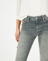 Nael ⅞-length, grey jeans embroidered with beads mid chine.