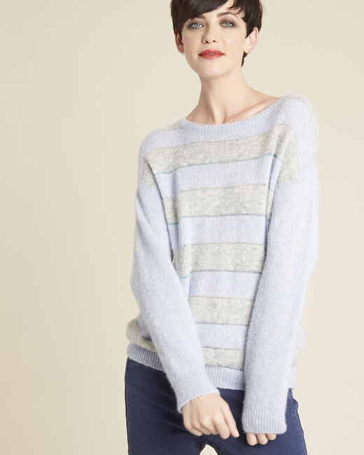 Bound alpaca and cool striped azure sweater (2) - 1-2-3