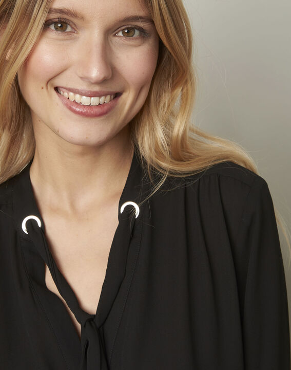 Valence black blouse with neckline ribbon tie  (4) - 1-2-3