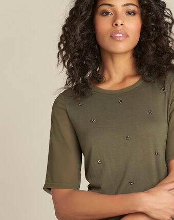 Eclipse khaki polka dot t-shirt with beading and georgette sleeves kaki.