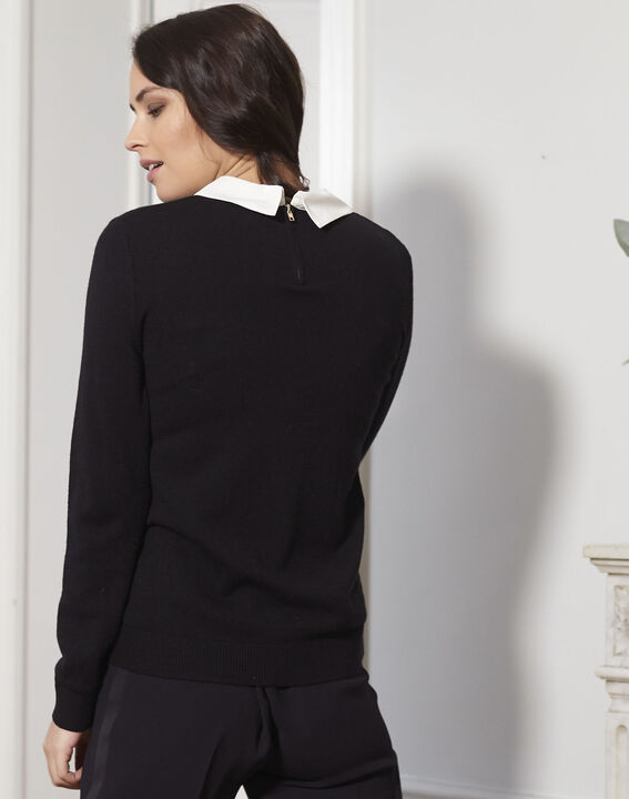 Beads black jewelled pullover with shirt-style collar (4) - Maison 123