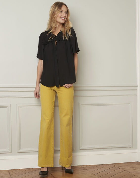 Zwarte blouse met fantasiedetails Vitali (2) - Maison 123