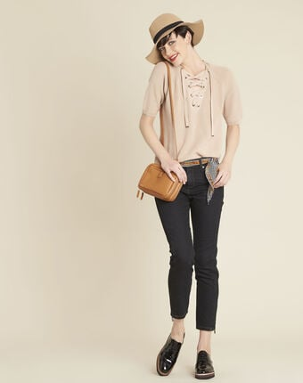 Boheme pink sweater with lacing and eyelets on the neckline rose.