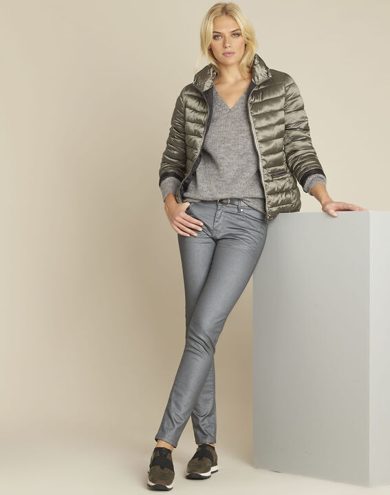 Baloon grey wool mohair pullover with V-neck (2) - 1-2-3