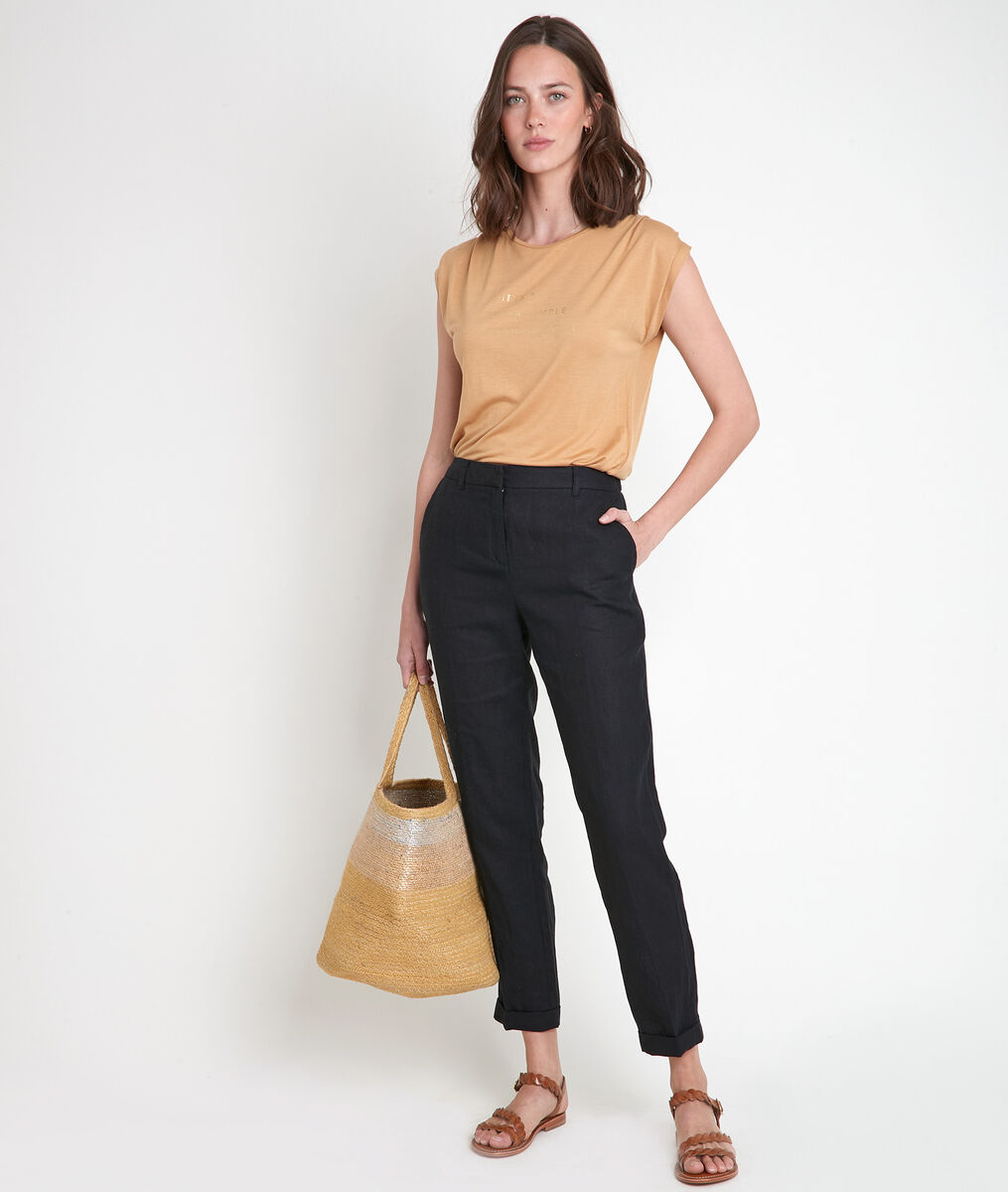 Pantalon chino en lin noir Felix Bis PhotoZ | 1-2-3