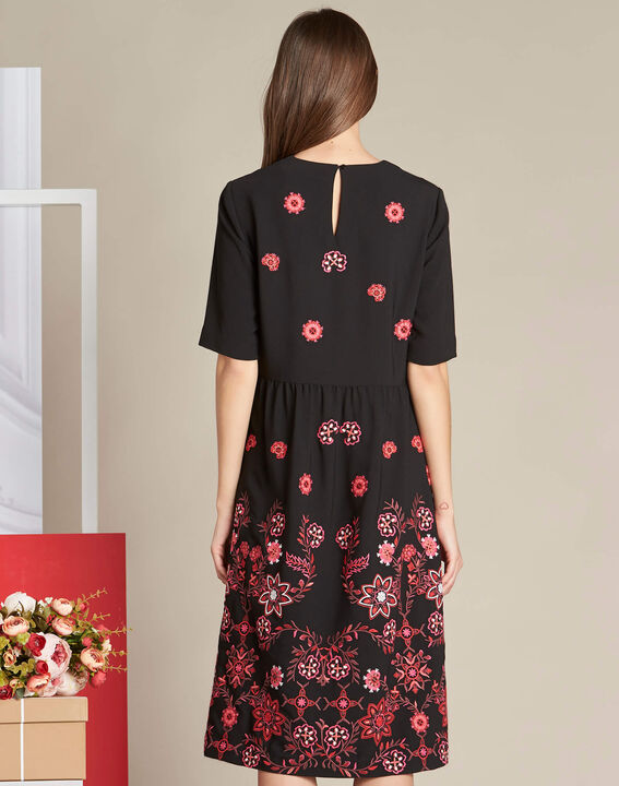 Pavlova mid-length black embroidered dress (4) - 1-2-3