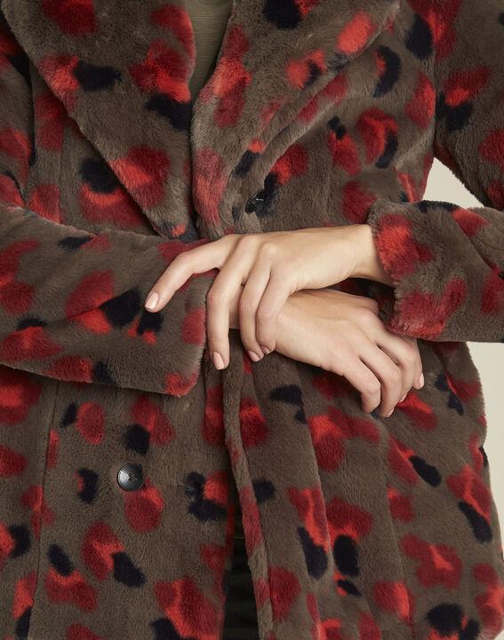 Echo printed khaki faux fur coat (3) - 1-2-3