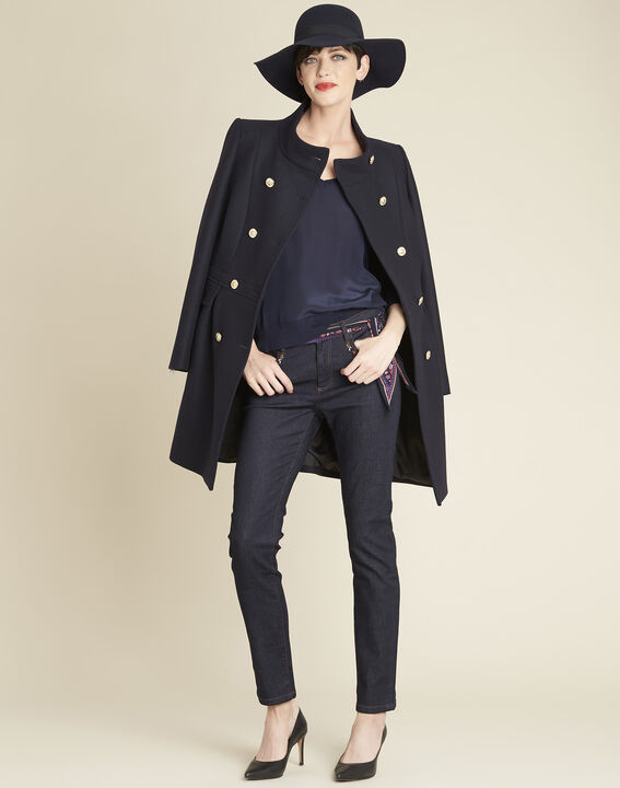 Marineblauwe jas met dubbele knopenrij Jasmin (2) - 37653