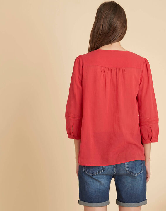 Gabi coral blouse with lace at the neckline (4) - 1-2-3