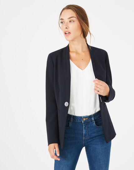 Majeste navy blue mid-length tailored jacket (1) - 1-2-3