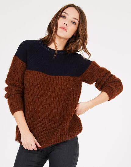 Zweifarbiger Pullover aus Alpaka und Kaschmir Praline (1) - 1-2-3