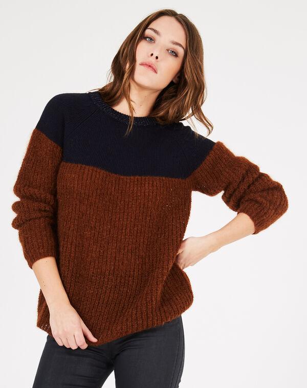 Pull bicolore alpaga laine et cachemire praline à