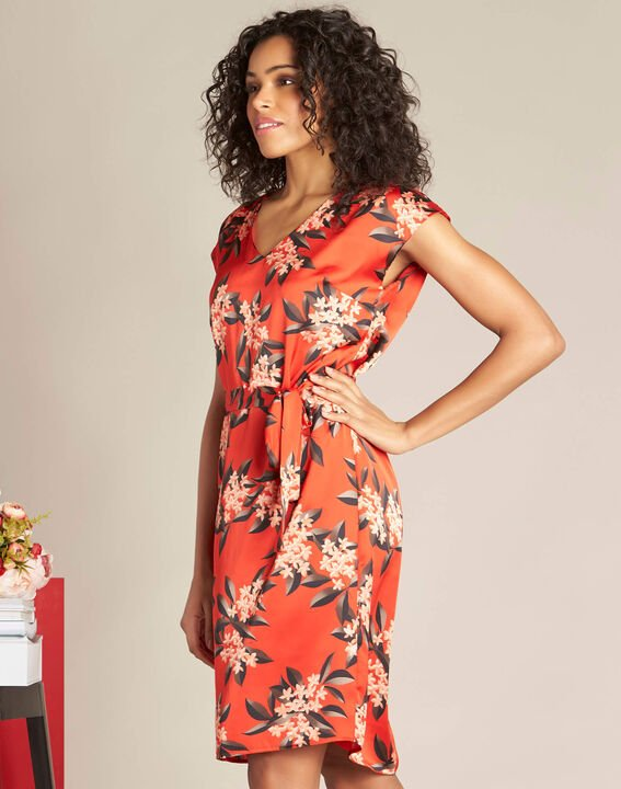Rotes gerades Print-Kleid mit Satin-Effekt Paradis (3) - 1-2-3