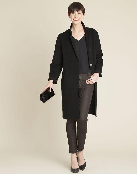 Langer schwarzer Mantel aus Wollgemisch Edgar (2) - 1-2-3