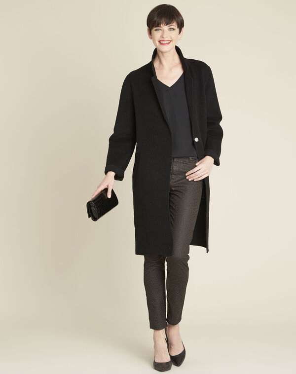 Manteau noir double face en laine Edgar (2) - 1-2-3