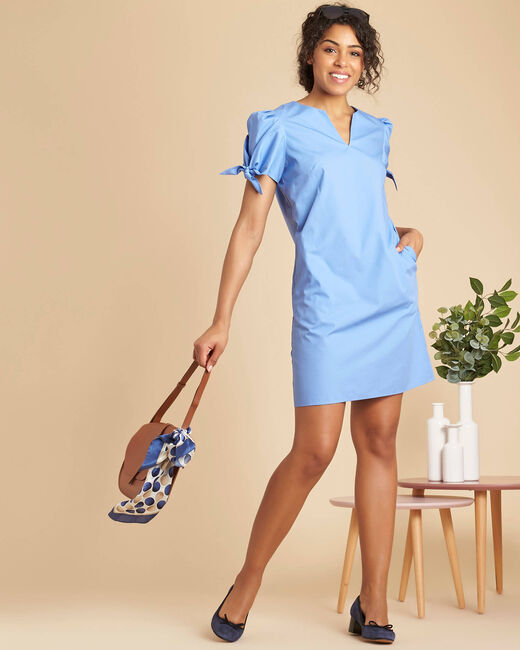 Pop sky blue cotton dress with original sleeves (1) - 1-2-3