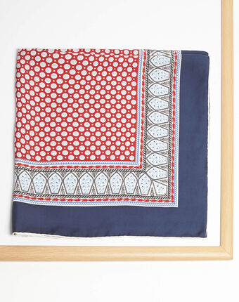 Ashton graphic printed square scarf in silk red.