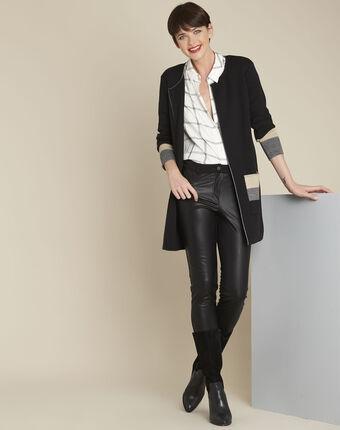 Bold long black cardigan black.
