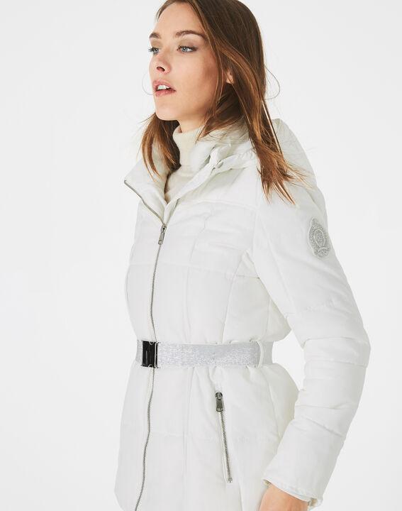 Livia white puffer jacket with a belt PhotoZ   1-2-3